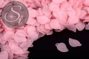 20 Stk. rosa Lucite-Blätter frosted 17,5mm-20