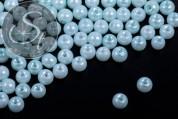 40 Stk. helltürkise Wachs Glas Perlen 6mm-20