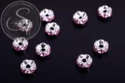 10 Stk. silberfarbene Spacer Perlen mit rosa Strasssteinen 6mm-20