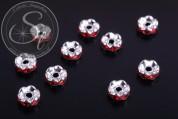 10 Stk. silberfarbene Spacer Perlen mit roten Strasssteinen 6mm-20