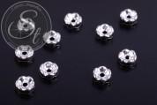 10 Stk. silberfarbene Spacer Perlen mit schwarzen Strasssteinen 6mm-20