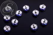 10 Stk. silberfarbene Spacer Perlen mit dunkelblauen Strasssteinen 6mm-20