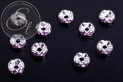 10 Stk. silberfarbene Spacer Perlen mit lila Strasssteinen 6mm-20
