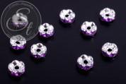 10 Stk. silberfarbene Spacer Perlen mit dunkellila Strasssteinen 6mm-20