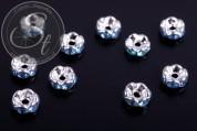 10 Stk. silberfarbene Spacer Perlen mit türkisen Strasssteinen 6mm-20