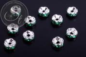 10 Stk. silberfarbene Spacer Perlen mit dunkelgrünen Strasssteinen 6mm-20