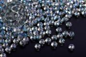 20 Stk. graublaue facettierte abakusförmige Electroplate Glasperlen 3mm-20