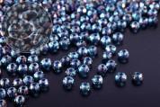 20 Stk. petrolfarbene facettierte abakusförmige Electroplate Glasperlen 3mm-20