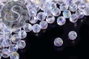 30 Stk. transparente runde facettierte Electroplate Glasperlen 4mm-20