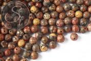 10 Stk. runde Roter Leoparden-Jaspis Perlen 8mm-20