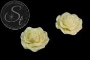 1 Stk. hellgelbes Blumen Cabochon 31mm-20