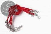1 Stk. rotes geflochtenes Lederimitat-Armband ~20cm-20