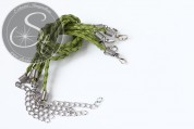 1 Stk. olivgrünes geflochtenes Lederimitat-Armband ~20cm-20