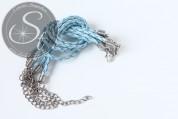 1 Stk. hellblaues geflochtenes Lederimitat-Armband ~20cm-20