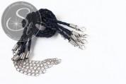 1 Stk. schwarzblaues geflochtenes Lederimitat-Armband ~20cm-20