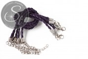 1 Stk. dunkel-lilafarbenes geflochtenes Lederimitat-Armband ~20cm-20