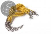 1 Stk. gelbes geflochtenes Lederimitat-Armband ~20cm-20