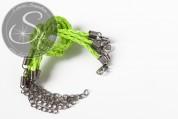 1 Stk. hell-neongrünes geflochtenes Lederimitat-Armband ~20cm-20