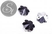 4 Stk. handgemachte facettierte schwarze Kristallglas Schneeflocken-Pendants 14mm-20