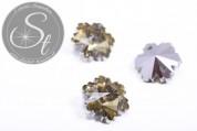 4 Stk. handgemachte facettierte hellgelbe Kristallglas Schneeflocken-Pendants 14mm-20