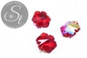 4 Stk. handgemachte facettierte rote Kristallglas Schneeflocken-Pendants 14mm-20