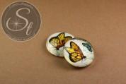 """1 Stk. rundes """"Butterfly"""" Glascabochon 16mm-20"""