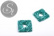 1 Stk. handgemachtes blaugrünes Draht-Quadrat ~27mm-20