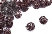 4 Stk. handgemachte kupferfarbene Draht-Perlen ~15mm-20