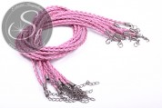 1 Stk. rosa geflochtenes Lederimitat-Collier ~44cm-20
