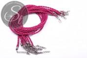1 Stk. pinkes geflochtenes Lederimitat-Collier ~44cm-20