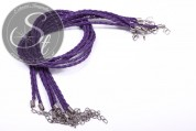1 Stk. lila geflochtenes Lederimitat-Collier ~44cm-20