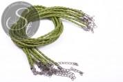 1 Stk. grünes geflochtenes Lederimitat-Collier ~44cm-20