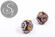 2 Stk. handgemachte braune indonesische Perlen ~20mm-20