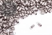 10 Stk. platinfarbene Spiral-Endkappen ~10mm-20