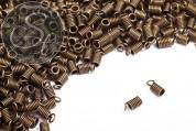 10 Stk. antik-bronzefarbene Spiral-Endkappen ~10mm-20