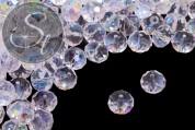 5 Stk. facettierte transparent-seifenblasenfarbene abakusförmige Glasperlen 12mm-20