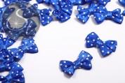 4 Stk. handgemachte blaue Satinschleifen mit weißen Punkten ~24mm-20