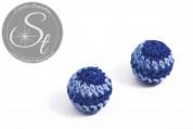 1 Stk. mit blauem Garn handumhäkelte Acrylperle ~21mm-20