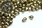 "20 Stk. große bronze-goldene böhmische ""Tropfen"" Glasperlen 9mm-20"