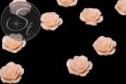 2 Stk. helllachsfarbene Blumen Cabochons 23mm-20