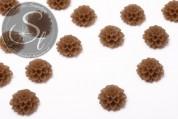 2 Stk. braune Blumen Cabochons frosted 20mm-20
