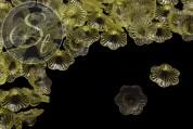 10 Stk. gelbe Acryl-Blüten transparent 21mm-20