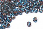 5 Stk. verschiedenfarbige mit Strasssteinen beklebte Perlen 12mm-20
