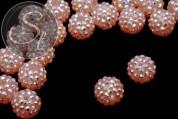 2 Stk. lachsfarbene mit Strasssteinen beklebte Perlen 16mm-20