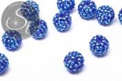 2 Stk. blaue mit Strasssteinen beklebte Perlen 16mm-20