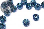 2 Stk. petrolfarbene mit Strasssteinen beklebte Perlen 16mm-20