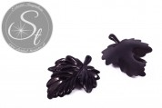 2 Stk. schwarze Lucite-Blätter Pendants 48mm-20