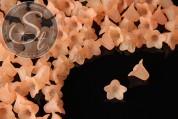 20 Stk. helllachsfarbene Acryl-Blüten frosted 18mm-20