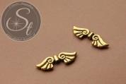 2 Stk. antik-goldfarbene Flügel-Perlen aus Metall 44mm-20
