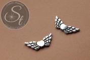 2 Stk. antik-silberfarbene Flügel-Perlen aus Metall 41mm-20